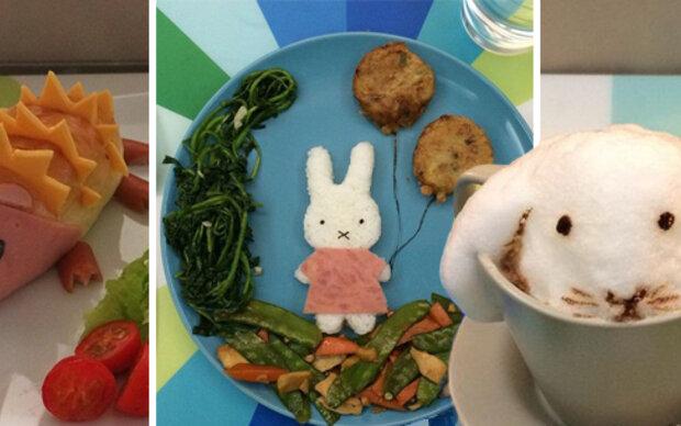 Mutter serviert Kindern gesunde Kreativ-Teller