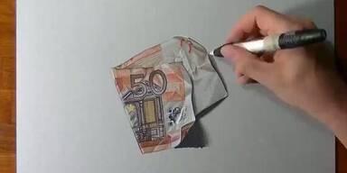 Gut gefälscht: Künstler zeichnet 50-Euro Schein