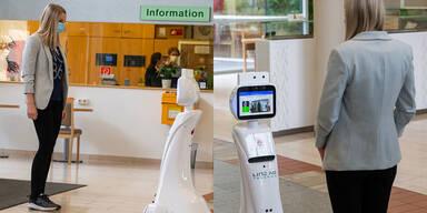 Roboter misst Fieber und erinnert an Maske