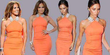 Ein Kleid an zwei Superstars