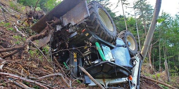 Traktor stürzt 80 Meter über Steilhang ab