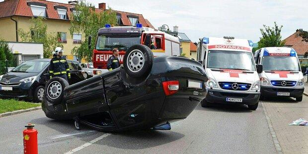 Auto überschlug sich nach Unfall