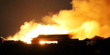 Weltkulturerbe-Burg in Japan abgebrannt