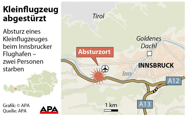 Motorsegler stürzte in Innsbruck ab - Zwei Tote