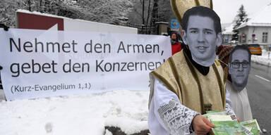 Protestaktion vor Regierungsklausur in Mauerbach
