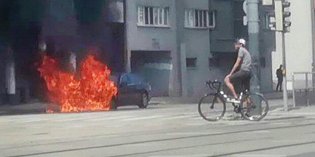 Auto brannte in Wien-Floridsdorf aus