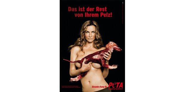 Alexandra Kamp kämpft nackt gegen Pelz