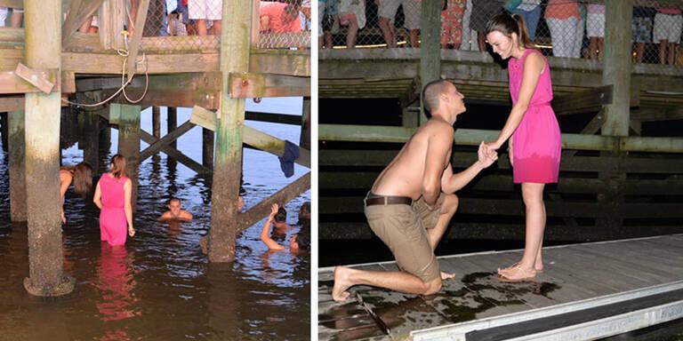 Als Matthew seiner Kaly einen Antrag machen wollte, fiel der RIng aus der Schachtel und versank im Meer. Zum Glück half eine Gruppe Fremder gleich, den Ring am Meerboden zu suchen.