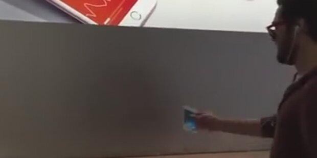 Wütender Kunde randaliert in Apple-Store
