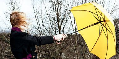 Sturm Regenschirm Wind Wetter Winter Herbst