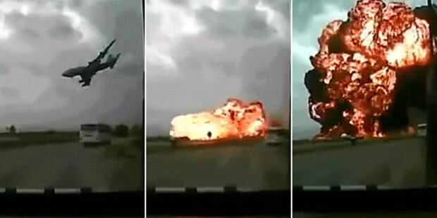 Feuerball: Flugzeug stürzt kurz nach Start ab