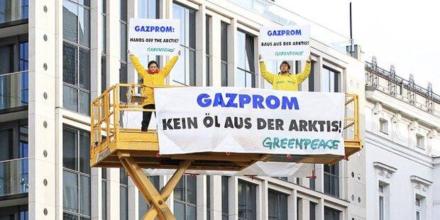 Greenpeace-Protest vor Gazprom-Gebäude