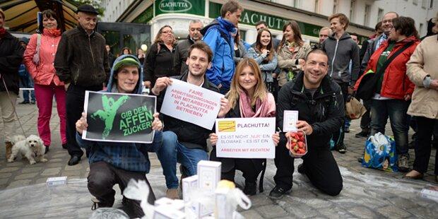 Zucker-Flashmob vor Plachutta-Lokal