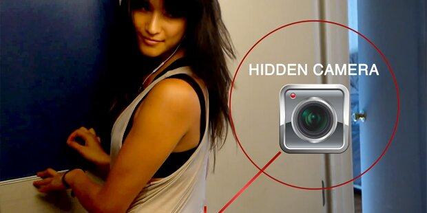 Frau Erwischt mit Versteckter Kamera