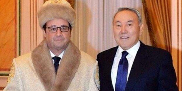 Hollande: Spott für Auftritt im Pelz-Outfit