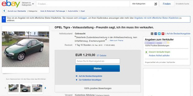 Irre ebay-Anzeige: Jetzt spricht die Freundin