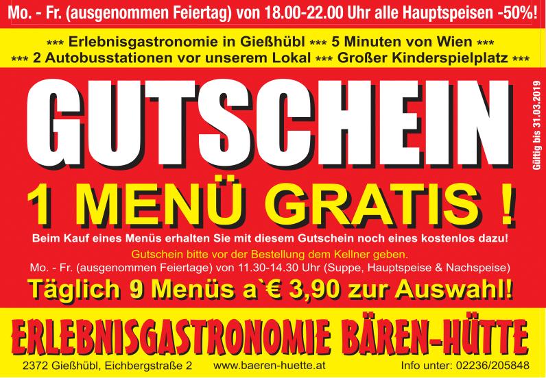 Bären-Hütte - ADV - Promo-Gutschein - Gültigkeit bis 31.03.2019