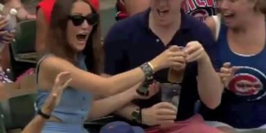 Baseball landet in Bier von Fan