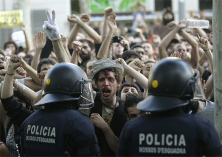 Barcelona Protest Polizei Gewalt Demonstration
