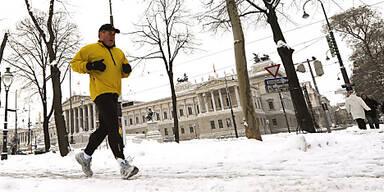 Beim Winter-Jogging einen Ganz zurückschalten