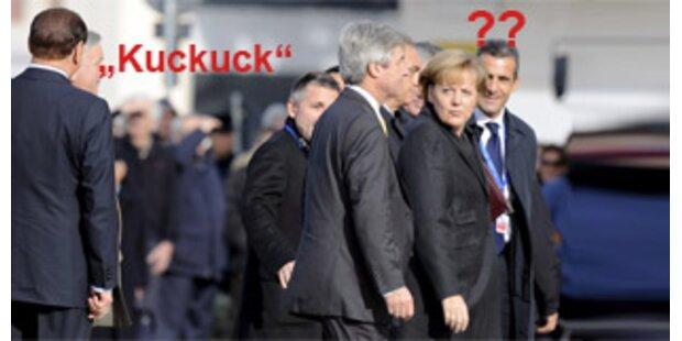 Berlusconi spielt Verstecken mit Merkel