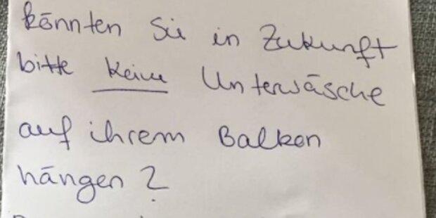 Kurioser Beschwerdebrief wegen Unterwäsche am Balkon