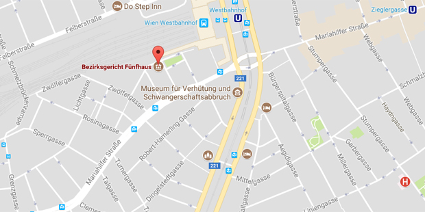 Bezirksgericht Fünfhaus Karte