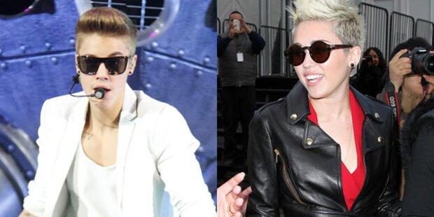 Justin und Miley gemeinsam im Studio