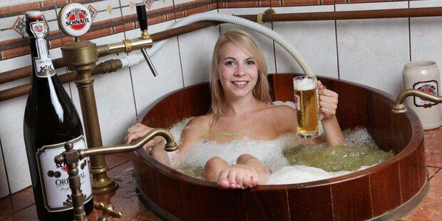 Gutschein für ein Bierbottichbad