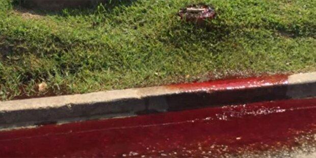 Wie im Horrorfilm: Blut strömt aus Bestattungsunternehmen