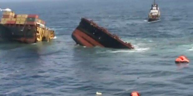 Umweltkatastrophe: Rena versinkt im Meer