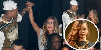 Chris Brown flirtet mit Blondine fremd