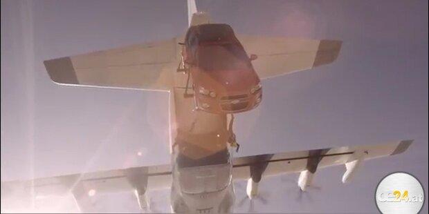 Krass: Fallschirmsprung mit Auto!