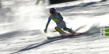 Mikaela Schiffrin als schnellste im 1. Durchgang