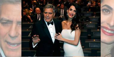 Amal Clooney erstmals öffentlich mit Babybauch