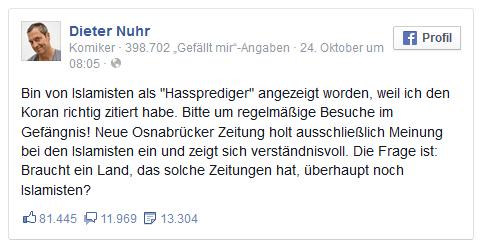 Dieter Nuhr: Anzeige wegen Islam-Witz
