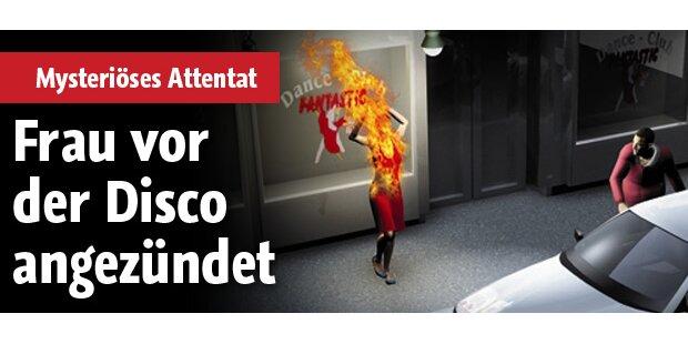 Frau vor Disco angezündet