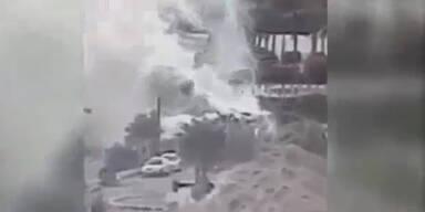 Überwachungskamera zeigt Explosion