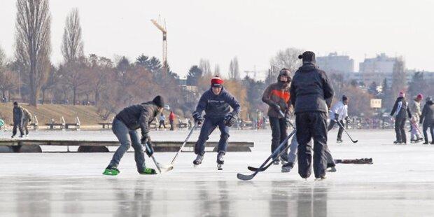 Eislaufen auf der Alten Donau gefährlich
