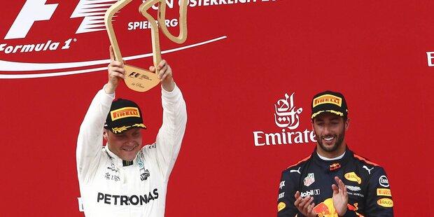 Bottas triumphiert vor Gänsehaut-Kulisse am Red Bull Ring