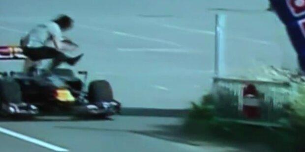Dummer Formel 1 Fan von Boliden erfasst