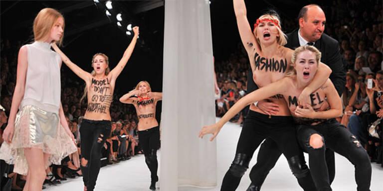 Model schlägt Femen-Aktivistin auf die Nase