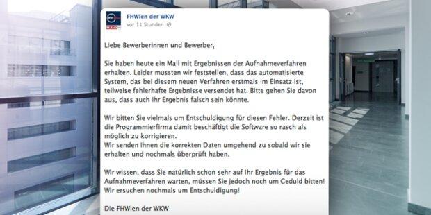 FH Wien verschickt falsche Ergebnisse