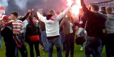 Fortunas Aufstiegsspiel endet im Fan-Chaos
