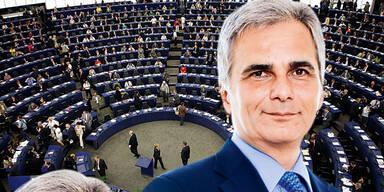 Faymann: Rede gegen Gier im EU-Parlament