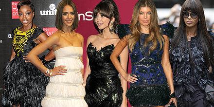 Celebrities lieben Fashion mit Federn