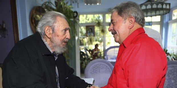 Brasiliens Ex-Präsident Lula trifft Fidel Castro in Kuba