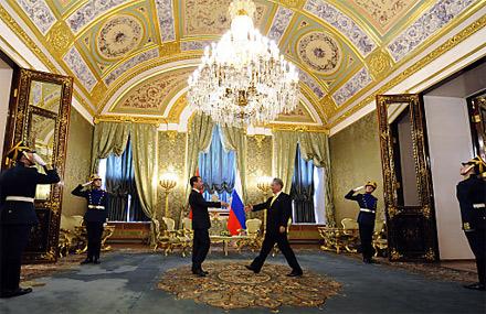 Medwedew Fischer Kreml Moskau Staatsbesuch Russland