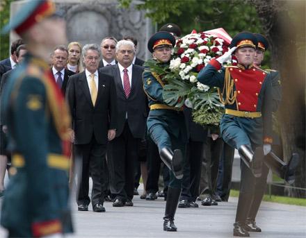 Bundespräsident Heinz Fischer Moskau Kranzniederlegung