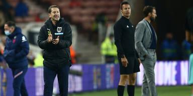 ÖFB-Teamchef Franco Foda und England-Coach Gareth Southgate an der Seitenline beim EM-Testspiel